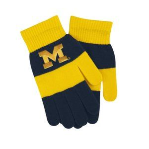 University of Michigan Rugby Striped Knit Gloves